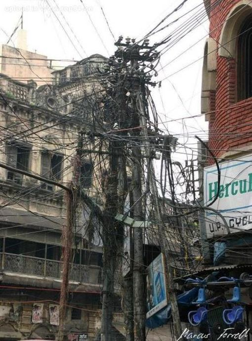 tangled wires 1funny com rh 1funny com India Electricity India Power Pole