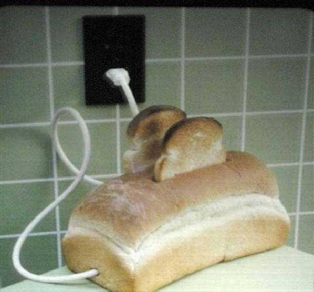 Toast In Toaster ~ Bread toaster funny