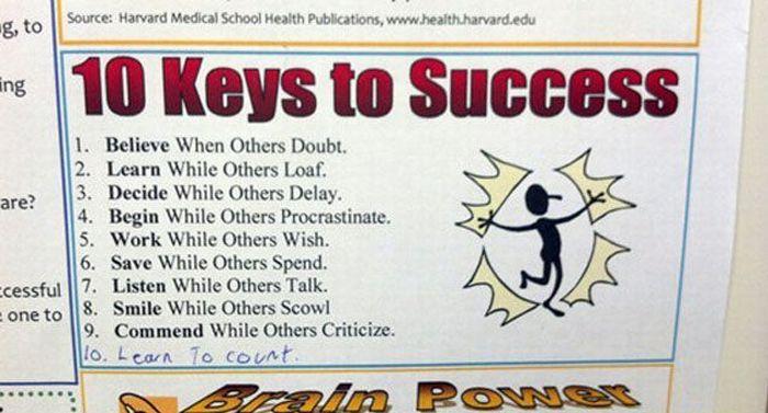 10 Keys to Success – 1Funny.com