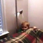 Cute Kid Stuck Behind Couch