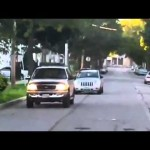 Woman Drives on Sidewalk
