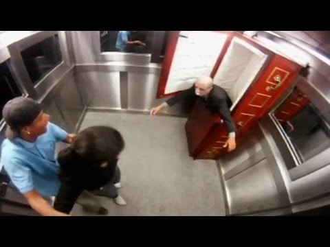 Corpse in an Elevator Prank