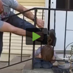 Kid Gets Head Stuck in Fence