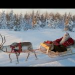 Santa Claus and Reindeer on the Road