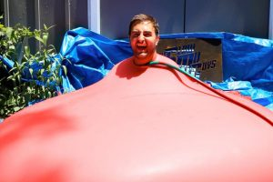 6ft Man in 6ft Giant Water Balloon – 4K – The Slow Mo Guys