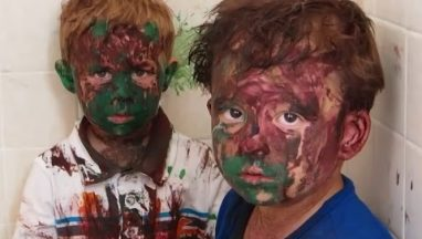 Dad Catches Kids Absolutely Covered in Paint