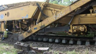 Train Laying Its Own Track
