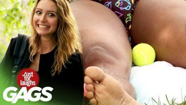 Tennis Ball Stuck Between Suntanned Legs
